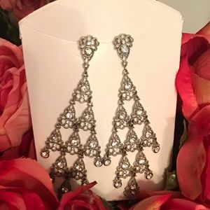 Long Silver, Crystal Stones beautiful Earrings